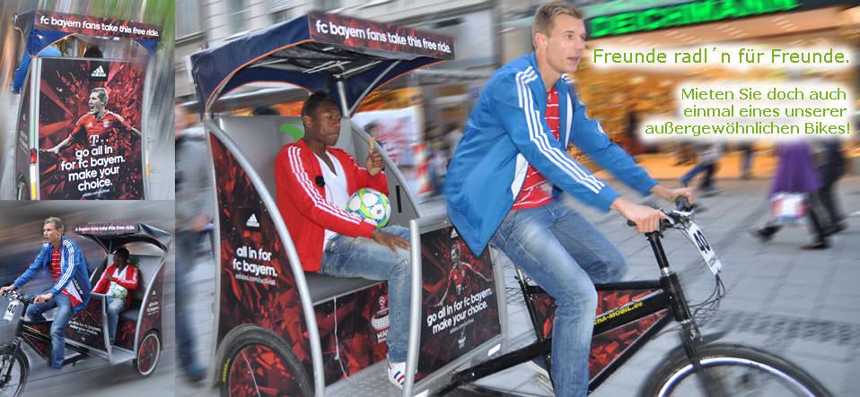 Badstuber chauffiert Alaba im Rikscha-Mobil durch München